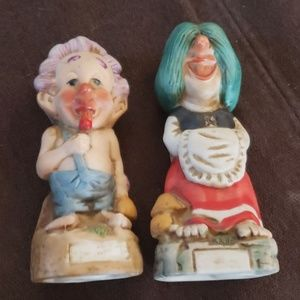Vintage 1970's porcelain hillbilly figurines